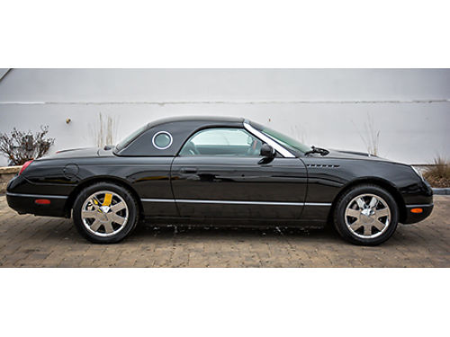02 FORD THUNDERBIRD HARDTOP Black On Black Leather Torch Red Accents Premium Convertible Two Top