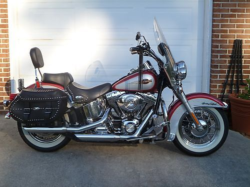 2005 HARLEY DAVIDSON Heritage Softail red pearl white 33200 miles original owner always garag
