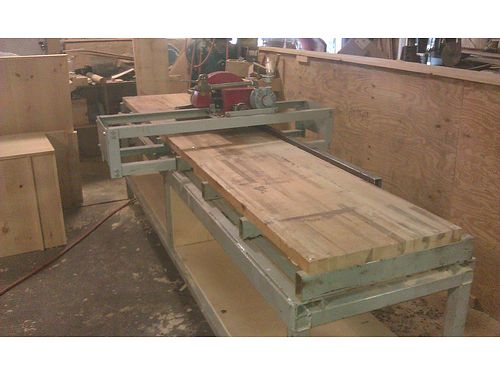 RADIAL ARM SAW Commercial 28 x 12 solid laminated wood table top all steel table framing and a