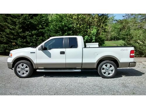 2006 FORD F-150 LARIAT Ext Cab 4wd 54L auto white wtan leather sunroof all power CD back-u