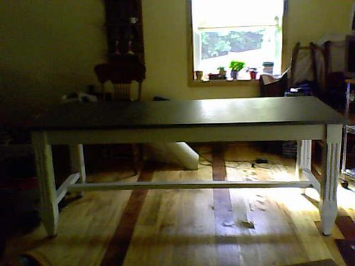 DINING  HARVEST TABLE by Ballard Designs Zinc top whitewashed trestle frame 6L Gorgeous paid
