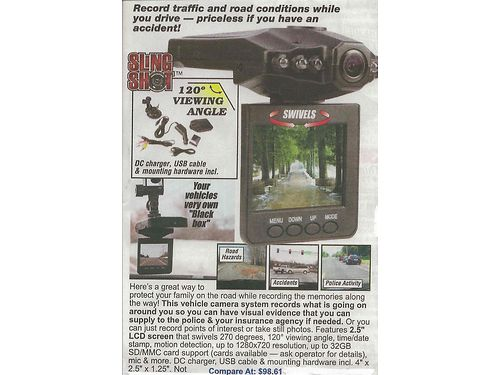 VIDEO CAMERA For Vehicle dashwindshield mount 60 865-256-3091 865-985-1845 see photo at wwwr