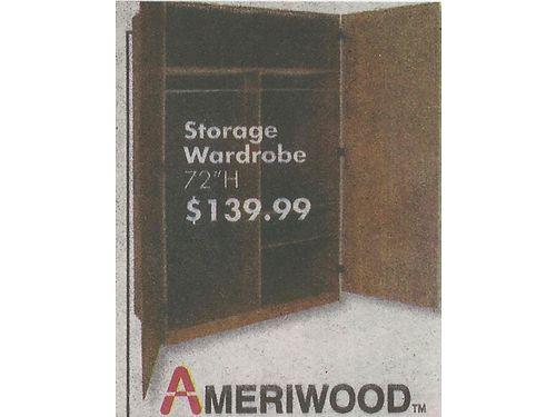 ARMOIRE  WARDROBE 2 Freestanding 72h wdouble doors hanging bars  shelves 60 each 865-25