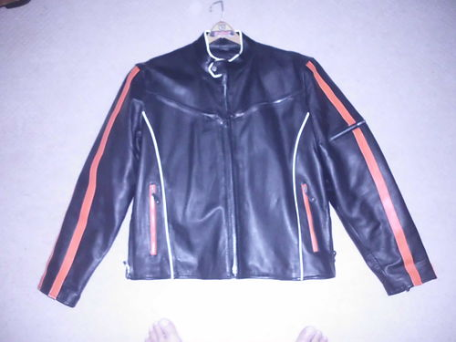 MOTORCYCLE JACKET Mens medium Black leather worange accents Harley Davidson Colors new was ov