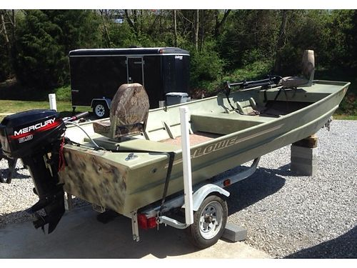 JON BOAT 16 Flat bottom Lowe Wide 5w wV-hull 99hp Mercury New Trolling motor fishdepthfin