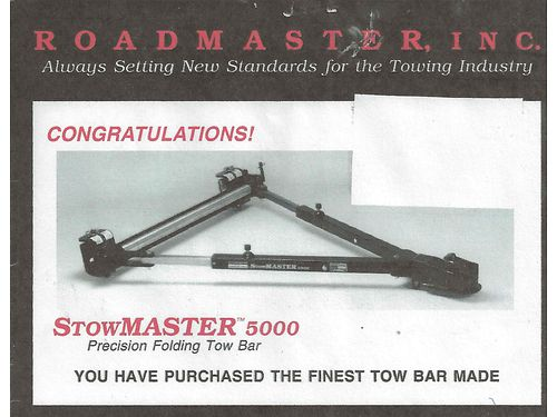 TOW BAR Stowmaster 5000 Stainless Steel slides foldable used once like new 250 obo 423-77