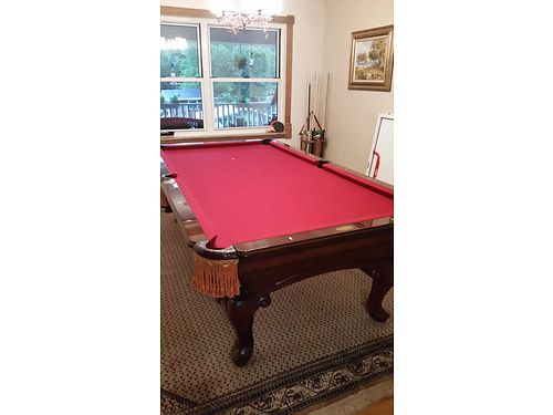 POOL TABLE AMF Highland Series 8 pool table wping pong insert red felt slate one piece rails