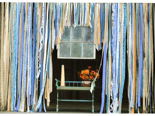 WEDDING ALTER Handmade Shabby Chic 9 tall 15 wide wfabric banners lace  ribbon in blue