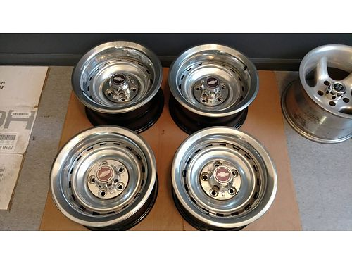 WHEELS Set of 4 15 Chevy Truck Rallys complete 2 8 wide 2 7 wide good for streetrod or