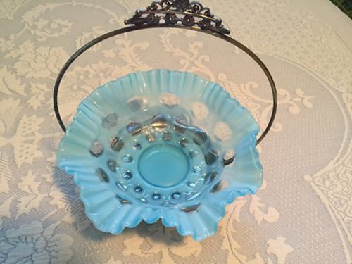 BRIDES BASKET Blue Glass  Silver holder Antique beautiful 65 see photo at wwwrecyclercom 86