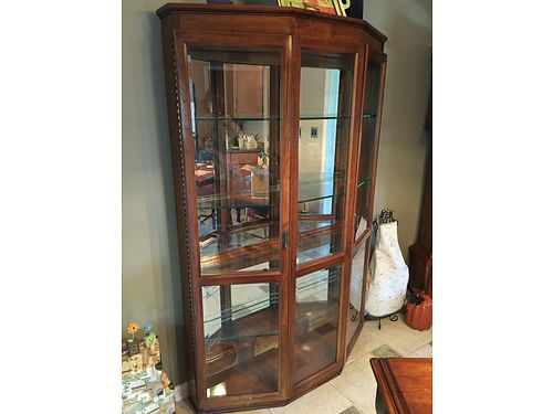 CHINA HUTCH Solid wood heavy oak Half-Octogan shape lighted cabinet wglass shelves good stora