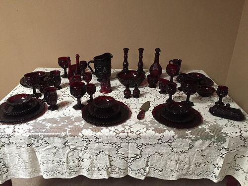 AVON GLASS Avon 1876 Cape Cod Glass Dinnerware Set Red wbook over 120 pieces 6 place settings