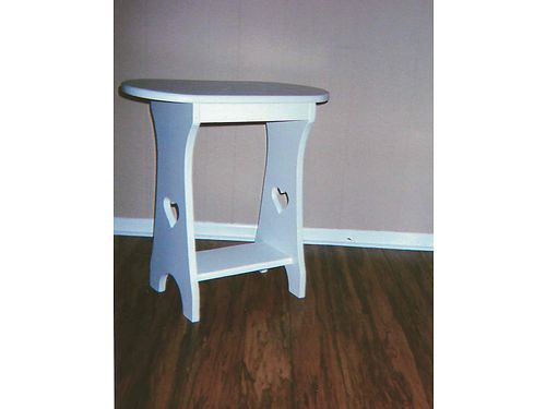 SIDE TABLE white solid wood hand made whearts cut in the side 24l x 11w x 25h 20 865-306-9