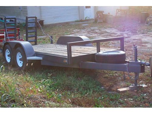 FLATBED TRAILER 6x14 bed Diamond Plate fenders solid plank floor Dual 6k EZ