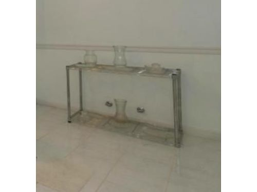 TABLE Chrome wire endside table 2 levels 26h 18x36 very versatile sofa table size 25 W K