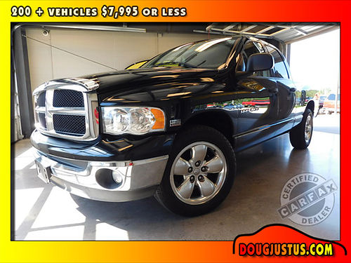 2005 DODGE RAM 1500 SLT black on black 57L Hemi V8 auto CARFAX certified 1-Owner vehicle has ai