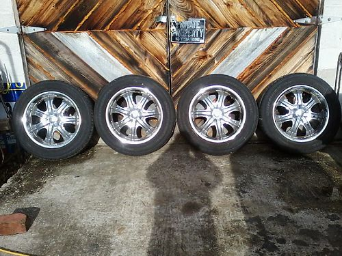 RIMS  TIRES set of 4 20 P27555R20s multi fit 5 lug Chevy good tread 450 865-617-8570