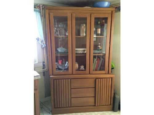 CHINA HUTCH 2pc wglass doors  shelves cabinet stoarge  drawers on bottom 50 865-368-0670 see