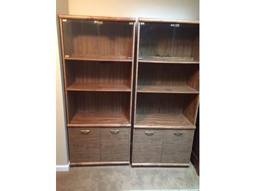 CURIO CABINETS 2 Light Oak finish lighted wglass doors on top closed cabinet storage on botto