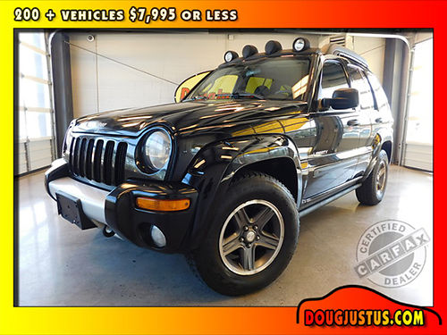 2004 JEEP LIBERTY RENEGADE Black wblack cloth 37L V6 Power Tech auto air sunroof all power m