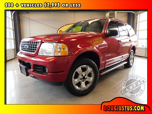 2005 FORD EXPLORER LIMITED 4wd Red Fire Metallic wblack leather 46L V8 auto sunroof dual heat
