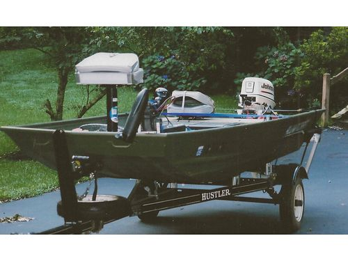 2002 ALUMACRAFT 14 flat-bottom Jon Boat 25hp Johnson welectric start tiller trailer spare tir