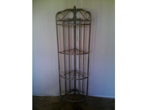 BAKERS RACKS set of 2 one is a corner unit rebuilt  refinished in a textured stone gray 185 f
