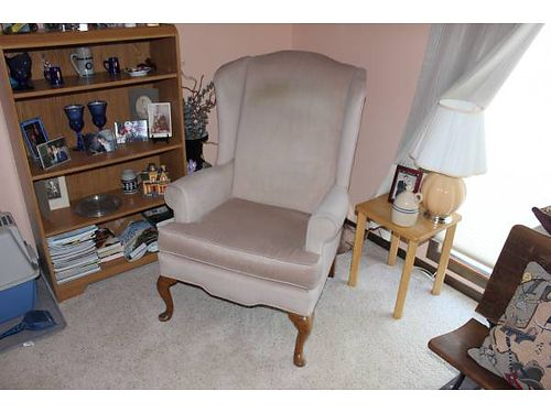 WINGBACK CHAIRS 2 Queen Anne Wingback chairs elegant tan microfiber good cond 100 for the pai