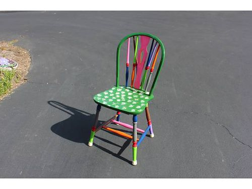 FOLK ART CHAIR painted in folk art paints and sealed with varnish 36 865-482-3669 see photos a