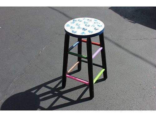 FOLK ART STOOL painted in folk art paints and sealed with varnish 20 865-482-3669 see photos a