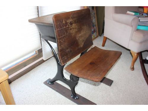 ANTIQUE SCHOOL DESK Charming antique school desk seat folds up has original student writing on de