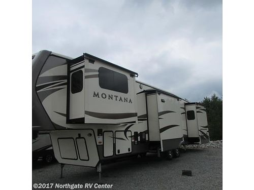 2018 KEYSTONE MONTANA 3731FL Sleeps 6 6 slideouts Fireplace HA Central Vac Front Living Packa