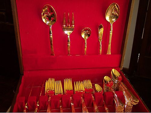FLATWARE 12 place setting Reed  Barton electroplated gold 80 obo 865-457-5805 see photo at ww