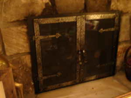 FIREPLACE SCREEN glass hand forged very unique 400 obo Gatlinburg 202-680-0200 see photo at w
