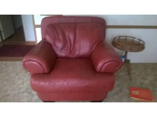 LOVESEAT & CHAIR, RICH BURGUNDY LEATHER, NICE ...