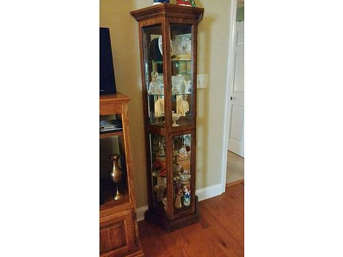 CURIO CABINET Antique Dark finish 6 tall lighted wmirrored back w6 glass shelves 2 glass do