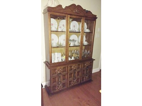 CHINA CABINET Antique Beautiful dark finish drawers  doors for storage on bottom shelves on top