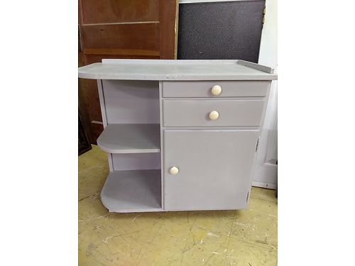 CABINET Wood cabinet with shelving Ann Sloan chalk painted 375 wide 85 865-242-1512 see phot