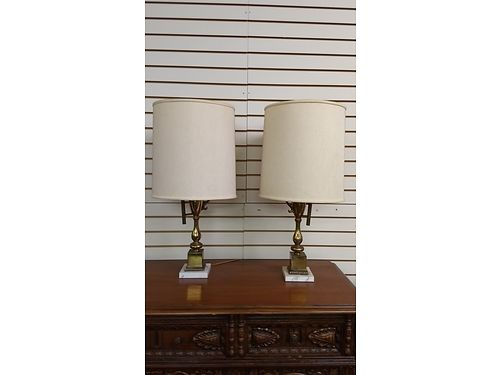 LAMPS Antique Vintage Lamps 1 Original Owner Original Lamp Shades Solid Brass with Marble bases