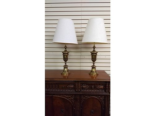LAMPS Set of 2 Antique Vintage Lamps  1 Original Owner with Original Lamp Shades Solid Brass 75