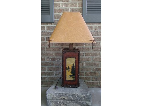 LAMP Lodge with painted front Table Lamp 3-way lights with Faux trimmed Shade 55 865-242-1512 S
