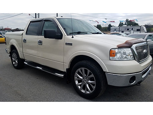 2007 FORD F150 LARIAT Supercrew 4wd White wTan interior 54L V8 auto stepbars bedcover tow pk