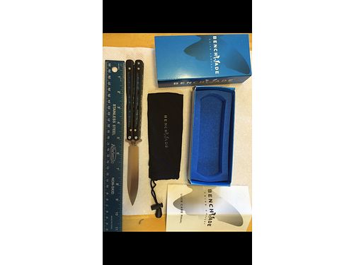 BENCHMADE KNIFE Benchmade 4 Bali-Song Butterfly Knife Rare hard to find blue carbon fiber handle