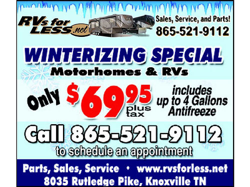 Motorhome  RV WINTERIZING SPECIAL Only 6995 Tax Includes Up To 4 Gallons Ant