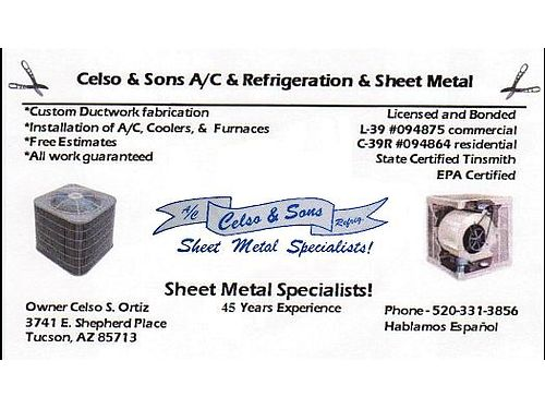 Celso  Sons AC Refrigeration  Sheet Metal Sales Service  Installation On All Major Brands Of A