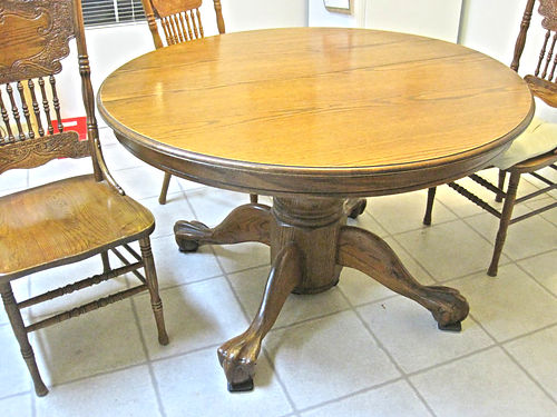 WOODEN CLAWFOOT table 4 chairs extra leaf good condition 350