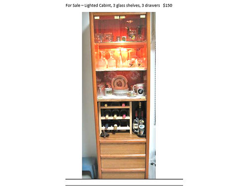 LIGHTED CABINET 3 glass shelves 3 drawers excellent condition 150