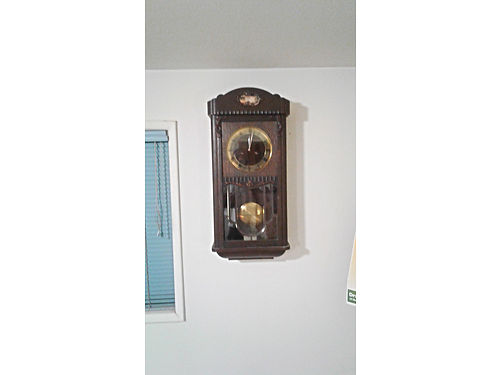 JUNG HANS 1800s Pendulum Wall Clock Key Wind Chimes Hours  Minutes Excellent Condition 1200