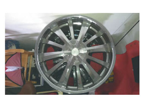 22 LENZO WHEELS universal so they fit Chevy Ford and Chrysler One wheel has a 3 curb rash mark