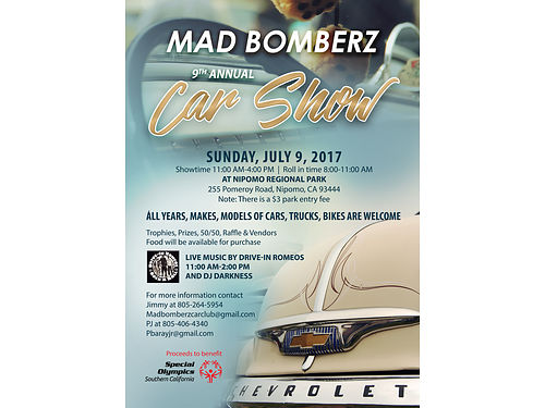 8TH ANNUAL MAD BOMBERZ CAR SHOW Sunday July 10 2016 11am-4pm at Nipomo Park